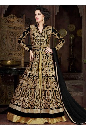 Black color net party wear anarkali suit