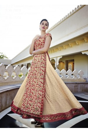 Beautiful Nargis Fakhri cream and red georgette party wear lehenga style kameez