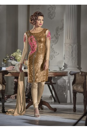 Gorgeous Priyanka Chopra Golden color Georgette straight cut salwar kameez