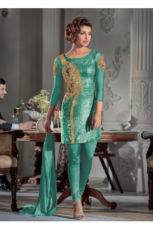 Gorgeous Priyanka Chopra Sea green Georgette straight cut salwar kameez
