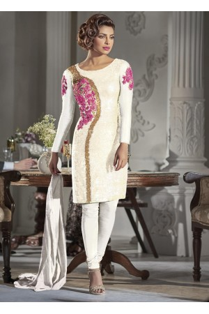 Gorgeous Priyanka Chopra white color Georgette straight cut salwar kameez