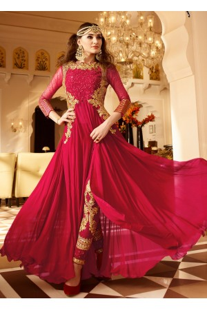 Rani color Georgette party wear anarkali