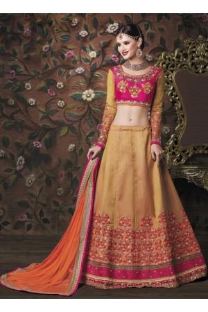 Gold color banarasi silk wedding lehenga