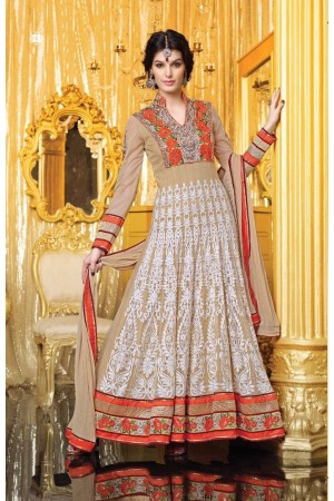 Beige color embroidered georgette party wear anarkali suit