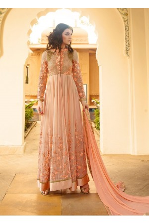 Classy peach color georgette party wear anarkali