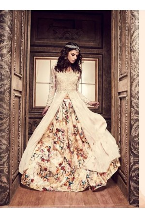 Cream color floral  pure silk party wear lehenga style kameez