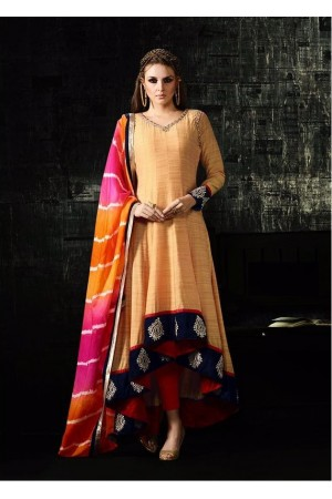 Cream and multi color cotton silk party wear anarkali