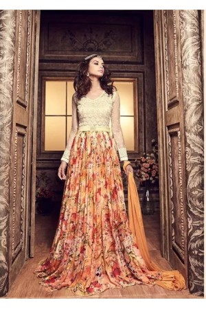 Cream and multi color floral chiffon party wear anarkali