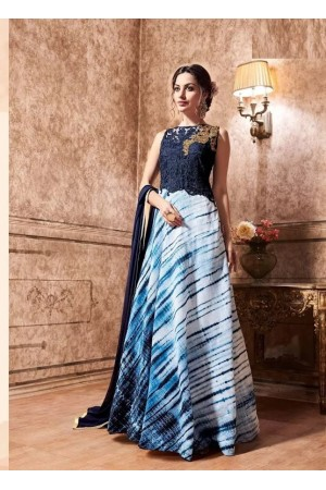 Navy blue silk and net party wear anarkali salwar kameez