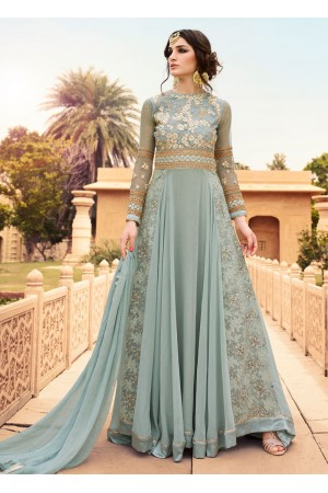Grey color georgette party wear anarkali