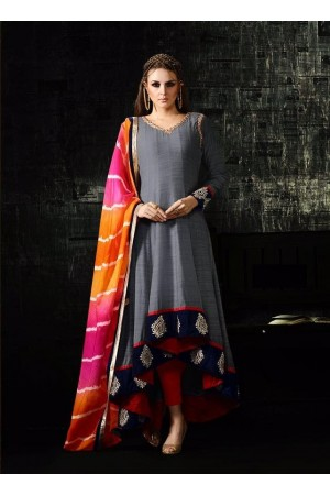 Grey and multi color cotton silk party wear anarkali