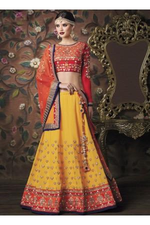 Yellow orange and red color jacquard wedding lehenga