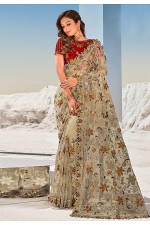 Beige net festival wear saree 5708