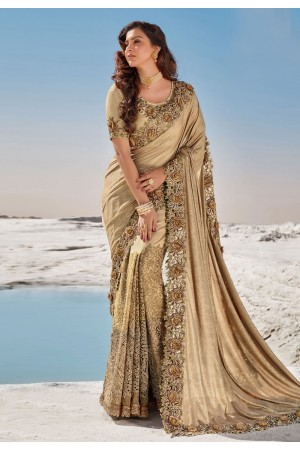 Beige net saree with blouse 5702