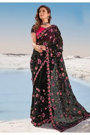 Black net festival wear saree 5710