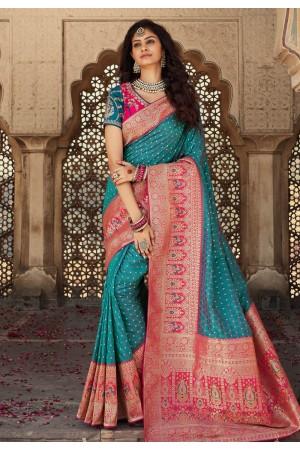 Blue banarasi silk saree with blouse 10103