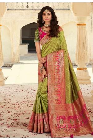 Green banarasi silk festival wear saree 10106
