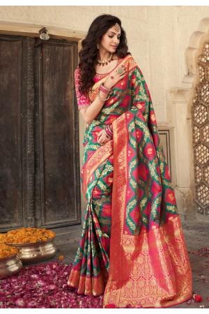 Green banarasi silk saree with blouse 10110