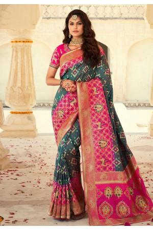 Green banarasi silk saree with blouse 10116