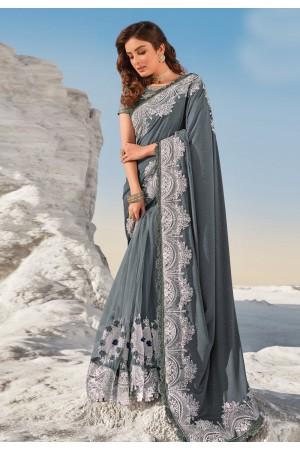 Grey net saree with blouse 5709