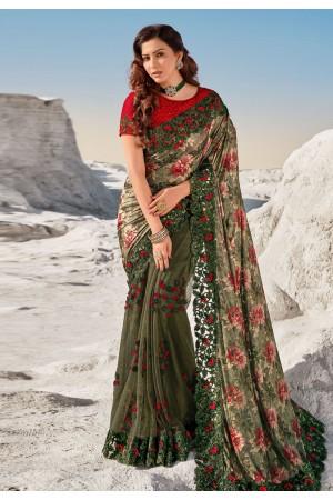 Mehndi net saree with blouse 5707