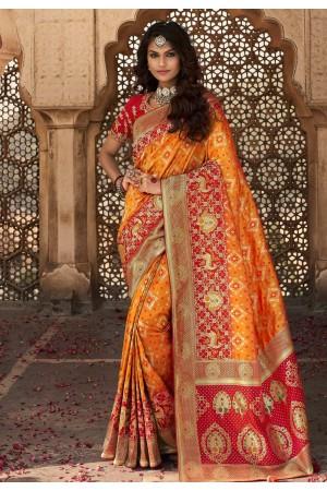 Orange banarasi silk festival wear saree 10115