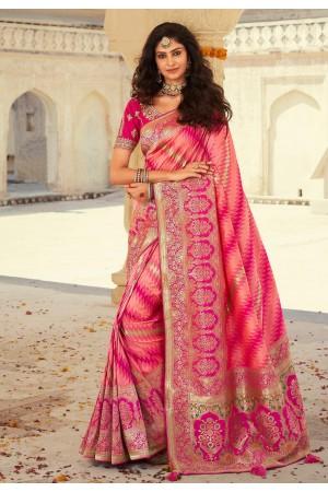 Pink banarasi silk festival wear saree 10114