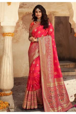 Pink banarasi silk saree with blouse 10117