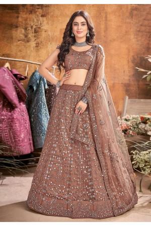 Brown net sequins work lehenga choli 1083