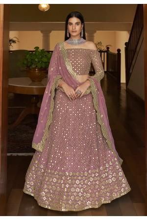 Pink georgette mirror work lehenga choli 7301