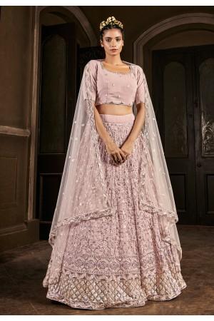 Pink georgette sequins work lehenga choli 1711