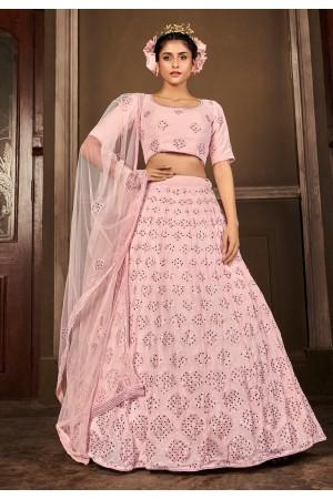 Pink georgette sequins work lehenga choli 1714