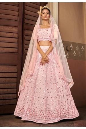Pink georgette sequins work lehenga choli 1716