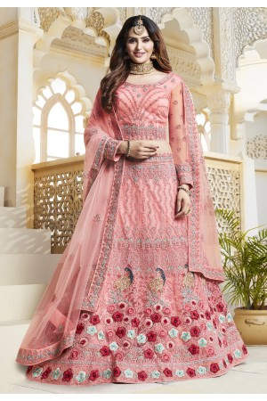 Pink net embroidered lehenga choli 433