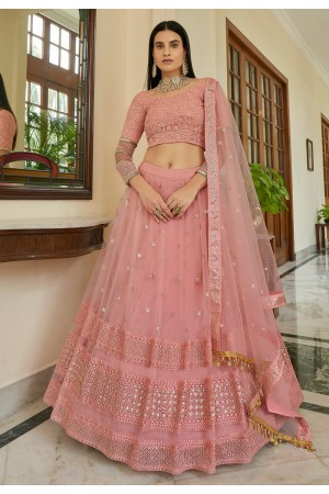Pink net sequins work lehenga choli 7309