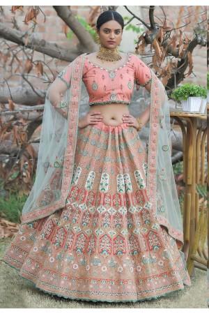 Pink pashmina embroidered lehenga choli 1123