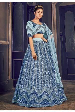 Sky blue net sequins work lehenga choli 1703