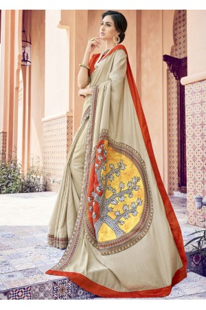 Beige Colored Printed Art Silk Officewear Saree 5102