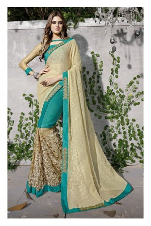 Green Colored Embroidered Chiffon Net Partywear Saree 97034