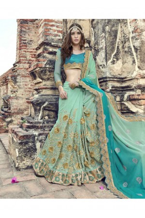 Green Colored Embroidered Faux Georgette Festive Saree 1905