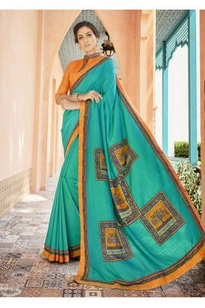 Green Colored Printed Art Silk Officewear Saree 5103