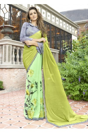 Green Colored Printed Chiffon Georgette Festive Saree 2106