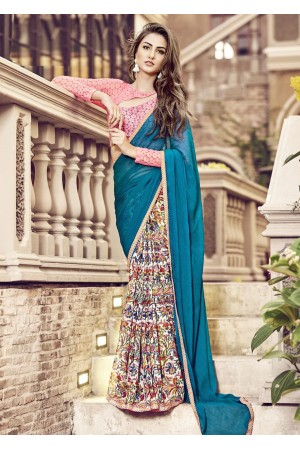 Green Colored Printed Chiffon Georgette Festive Saree 2108