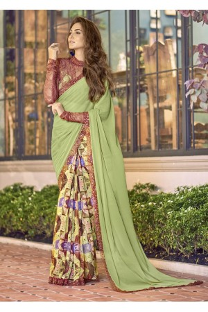 Green Colored Printed Chiffon Georgette Festive Saree 2110