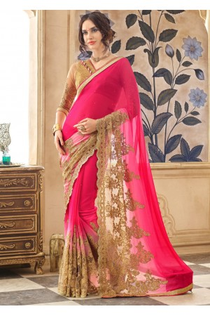 Magenta Faux Georgette Traditional Embroidered Saree 87023