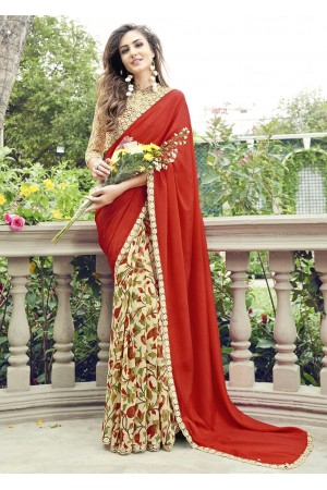 Off White Colored Printed Chiffon Georgette Festive Saree 2102