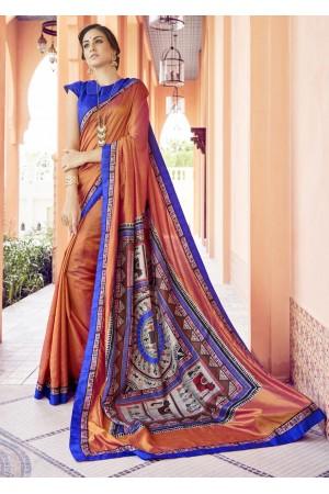 Orange Colored Printed Art Silk Officewear Saree 5104