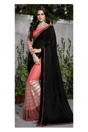 Peach Colored Border Worked Satin Georgette Super Net Festive Saree 97041