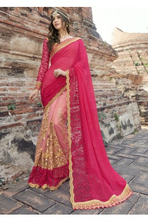 Peach Colored Embroidered Faux Georgette Festive Saree 1902