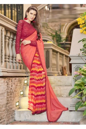 Peach Colored Printed Chiffon Georgette Festive Saree 2109